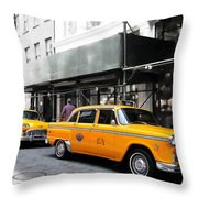 Ny Streets - Yellow Cabs 1 Throw Pillow