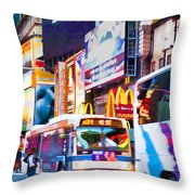 Ny Times Square Impressions Iv Throw Pillow