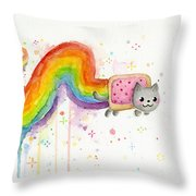 Nyan Cat Watercolor Throw Pillow