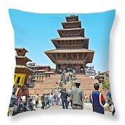 Nyatapola-tallest Pagoda In Nepal-in  Throw Pillow