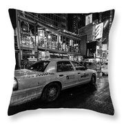 Nyc Cab Times Square Throw Pillow