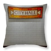 Nyc City Hall Subway Station Throw Pillow