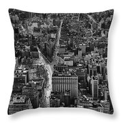 Nyc Downtown - Black And White Throw Pillow