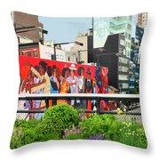 Nyc-high Line Billboard Art Throw Pillow