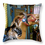 Nyc - Horsing Around In Bryant Park Throw Pillow by Richard Reeve