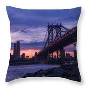 Nyc - Manhatten Bridge At Night II Throw Pillow by Hannes Cmarits