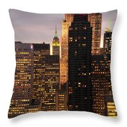 Nyc Midtown Golden Lights Throw Pillow
