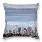 Nyc On A Cloudy Day Throw Pillow