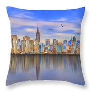 Nyc Reflections Throw Pillow
