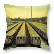 Nyc Subway Cars Throw Pillow