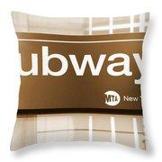 Nyc Subway Sign Throw Pillow