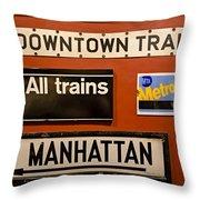 Nyc Subway Signs Throw Pillow