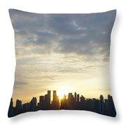 Nyc Sunrise Panorama Throw Pillow