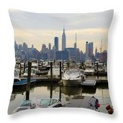 Nyc View From Lincoln Harbor Weehawkin Nj Throw Pillow