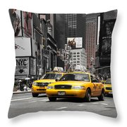 Nyc Yellow Cabs - Ck Throw Pillow by Hannes Cmarits