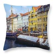 Nyhavn Boat Docks Throw Pillow
