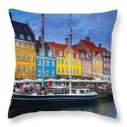 Nyhavn Canal Throw Pillow
