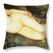Nymph At The Stream Throw Pillow