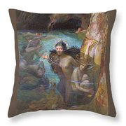 Nymphs At A Grotto Throw Pillow