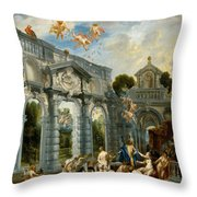 Nymphs At The Fountain Of Love Throw Pillow