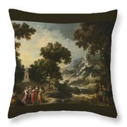 Nymphs Turning The Apulian Shepherd Into An Olive Tree Throw Pillow