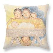 O Come Little Children - Christmas Card Throw Pillow