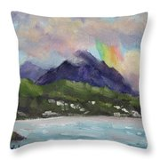 Oahu North Shore Rainbow Throw Pillow