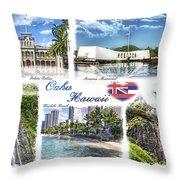 Oahu Postcard 2 Throw Pillow