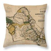 Oahu Sovereign Hawaii Map  1881 Throw Pillow