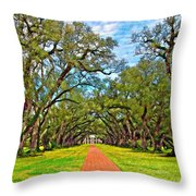 Oak Alley 3 Oil Throw Pillow