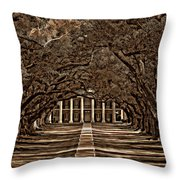 Oak Alley Bw Throw Pillow