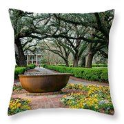 Oak Alley Landscape In Vacherie Louisiana Throw Pillow