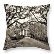 Oak Alley Rear Entrance Sepia Throw Pillow