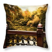 Oak Bridge Autumn Throw Pillow