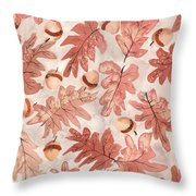 Oak Leaves And Acorns Throw Pillow