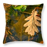 Oak Leaves In A Puddle Throw Pillow