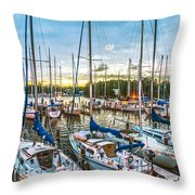 Oak Pt Harbor At Sundown Throw Pillow