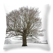 Oak Tree And Farm House Throw Pillow