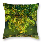 Oak Tree By The Pond - Featured 3 Throw Pillow