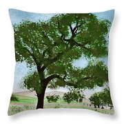 Oak Tree Landscape Throw Pillow