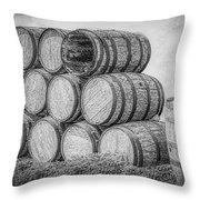 Oak Wine Barrels Black And White Throw Pillow