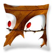 Oak With Berries Throw Pillow