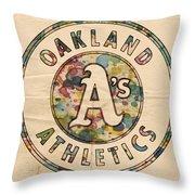 Oakland Athletics Poster Vintage Throw Pillow