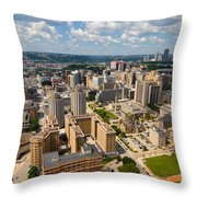 Oakland Pitt Campus With City Of Pittsburgh In The Distance Throw Pillow by Amy Cicconi