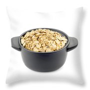 Oat Flakes In A Black Cup Throw Pillow