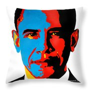 Obama Gouached Throw Pillow by Nancy Mergybrower