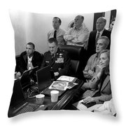 Obama In White House Situation Room Throw Pillow