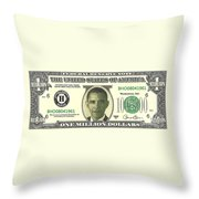 Obama Million Dollar Bill Throw Pillow