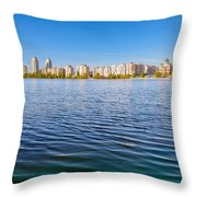 Obolon Skyline Close To The Dnieper River In Kiev Throw Pillow