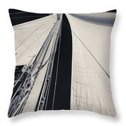 Obsession Sails 2 Black And White Throw Pillow